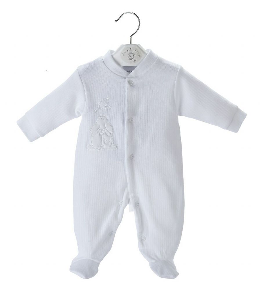 A20355 Rabbit & Star ribbed sleepsuit White